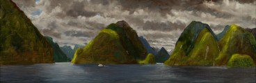a painting by Carl Homstad of mountains emerging out of a fjord