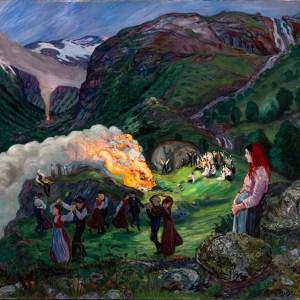 Nikolai Astrup's Midsummer Eve Bonfire painting