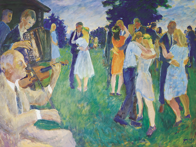 A Hans-Erik Eriksson painting of several couples dancing while a man plays a fiddle and other plays an accordion