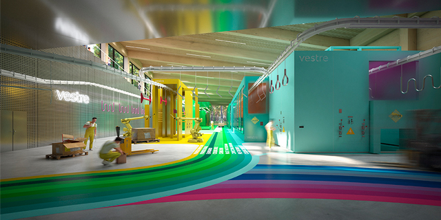 A hallway in Vestre's future furniture factory that has colorful walls and rainbow stripes on the floor