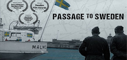 Movie poster for Passage to Sweden with a boat with a Swedish flag and two men