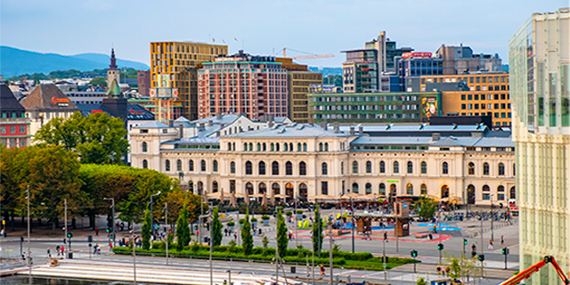 Olso city center, with Sentralen, Oslo's Central Station, shown as an example of how old buildings can be refurbished and modernized.