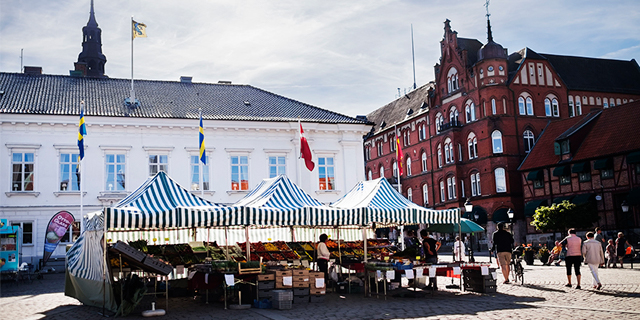 Ystad town square market in Skåne county