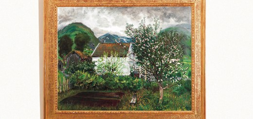 """a previously unknown Astrup painting, """"Grey spring evening and flowering fruit trees"""""""