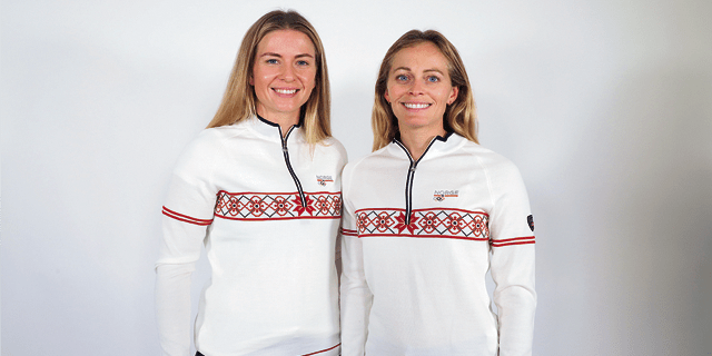 Team Norway female sailors wear the Olympic sweater
