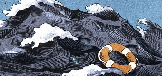 painting of waves with a life preserver