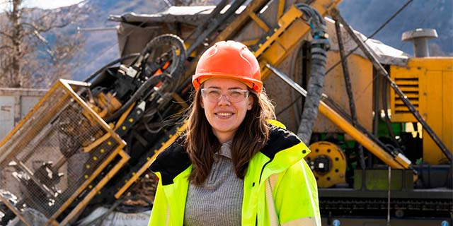Monika Øksnes at a mining project exploration site