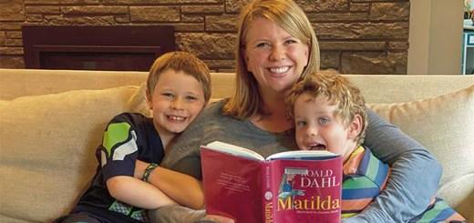 Christy Olsen Field and her boys reading Matilda by Roald Dahl