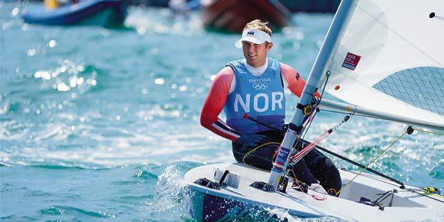 Hermann Tomasgaard in his sailboat