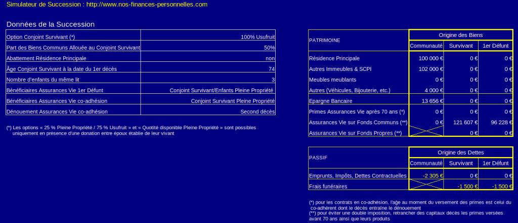 simulateur de calcul de droits de succession - saisie des données