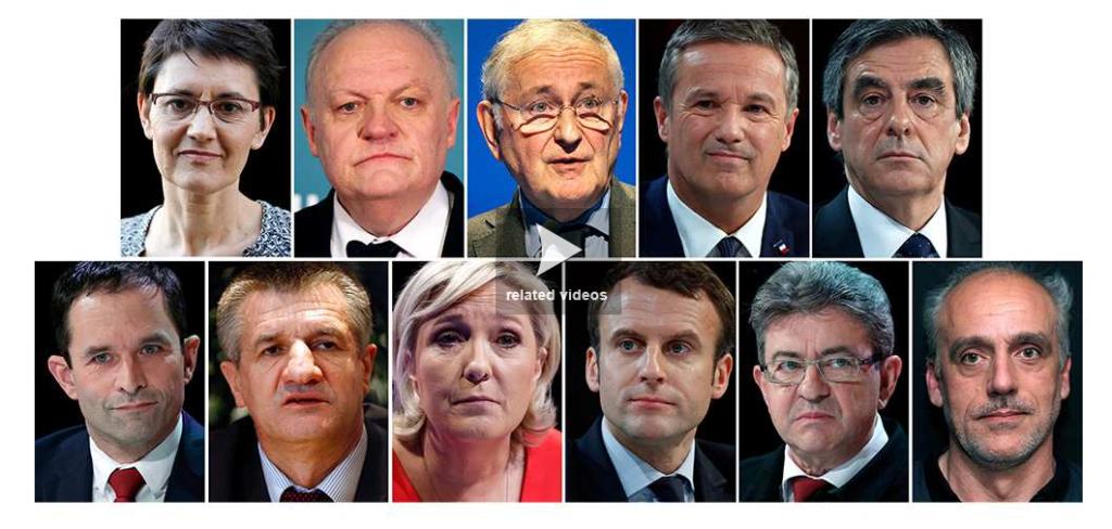 photo des 11 candidats à l'élection présidentielle