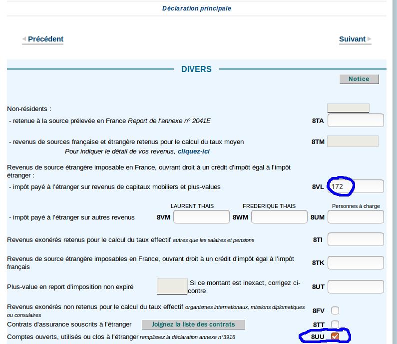 Déclaration des revenus - déclaration principale 2042