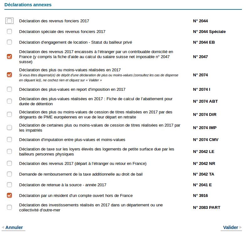 Déclaration des revenus - déclarations annexes