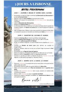 Itinéraire 3 jours à Lisbonne en pdf