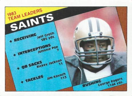 1983 New Orleans Saints Team Leaders | 1984 Topps Football Card