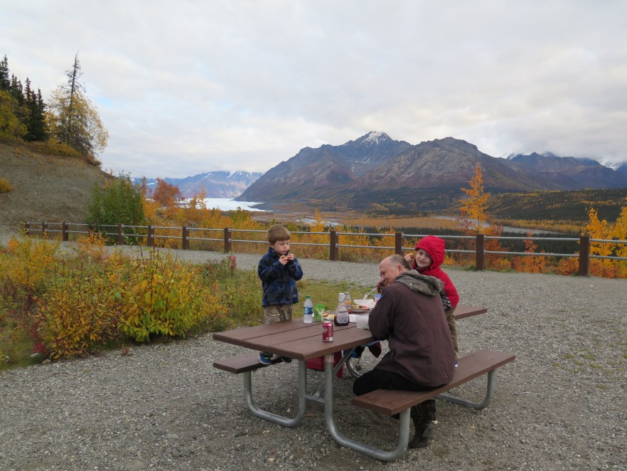 Eating a picnic lunch over close to a glacier