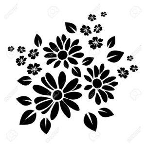 20961086-Silhouette-noire-de-fleurs-Vector-illustration-Banque-d'images-400w