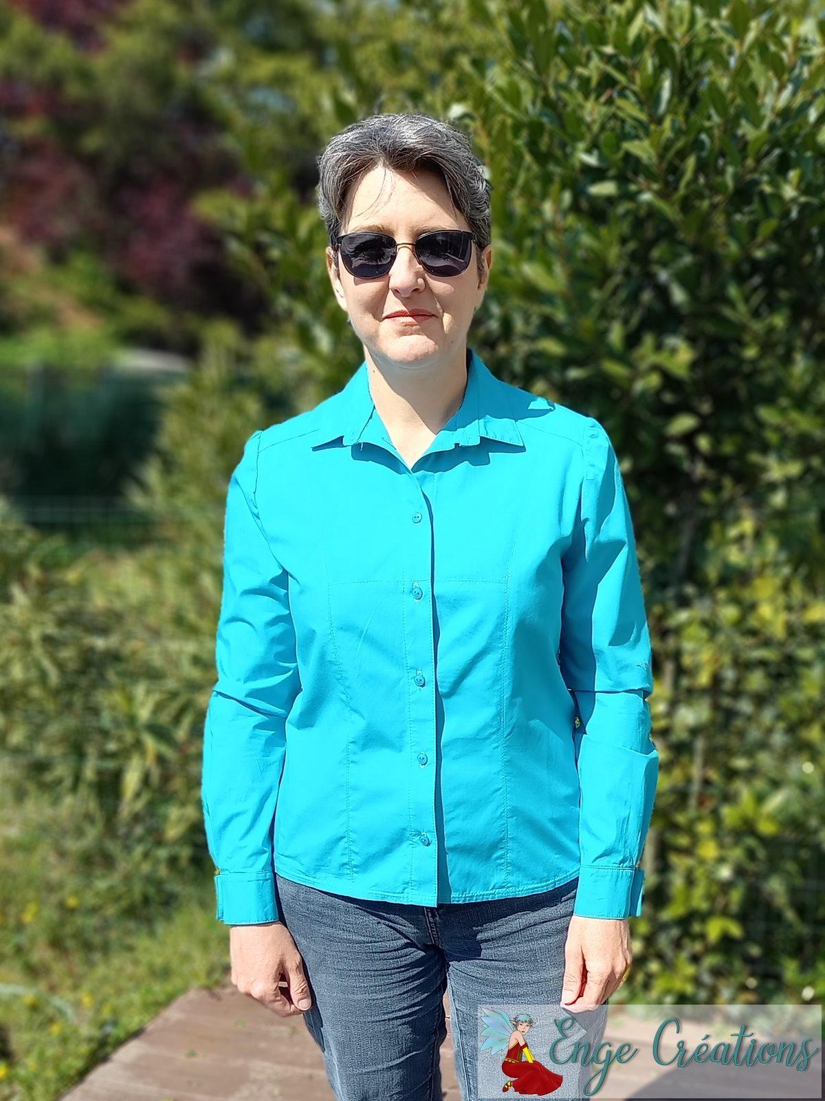Chemisier Adelise bleu paon