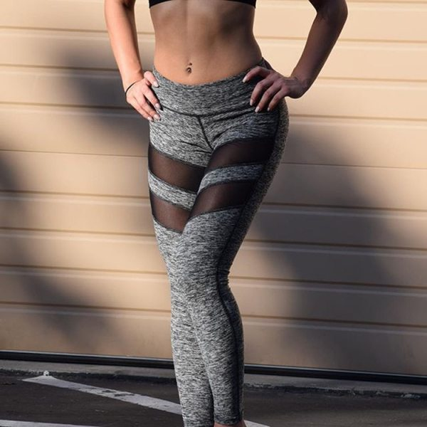 Women Mesh Patchwork Sport Leggings High Waist Tights Pants Solid Sports Wear for Women Gym Push Up Yoga Pants Plus Size S-XL