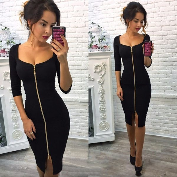 Lossky Women Sexy Club Low Cut Bodycon Dress Red Velvet Sheath 2020 Burgundy Fashion Black Pure Spring pencil dresses for office