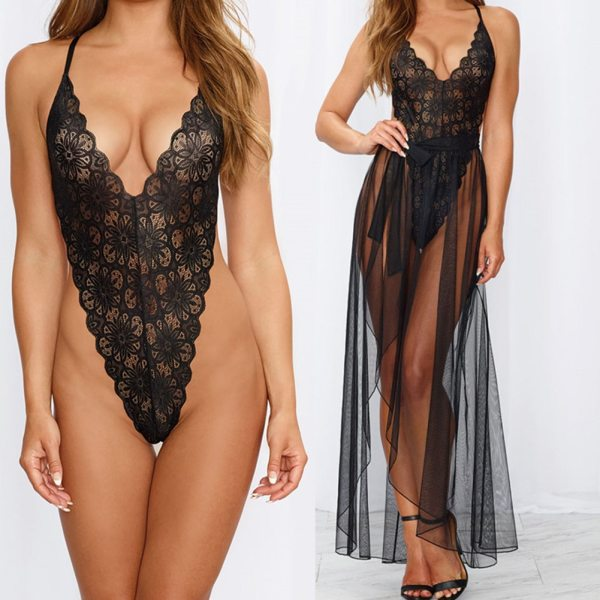 2PCS Sexy Lingerie Exotic Sets Hollow Out Backless Bodysuit Sleepwear Babydoll Lace Underwear