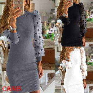 New 2020 Women's Knit Bodycon Sweater Dress Long Puff Sleeve Long Jumper Pencil Dresses For Autumn Party Street Wear
