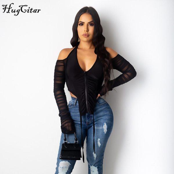 Hugcitar 2020 Long Stacked Sleeve Halter Zipper Patchwork Sexy Crop Top Autumn Winter Women Fashion Streetwear Tshitrs Club Tees