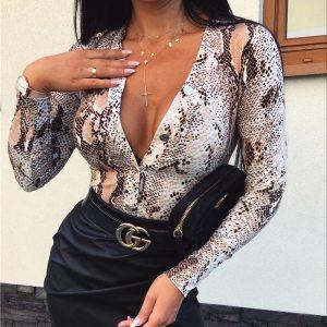 Fashion Women Leopard T Shirt Bodysuit Elegangt Long Sleeve OL Body Top V Neck Romper Party Club Office Lady Leotard Streetwear 1