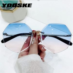 YOOSKE Rimless Women's Sunglasses Design Fashion Lady Sun glasses Vintage Alloy Classic Designer Shades UV400 Eyewear 1