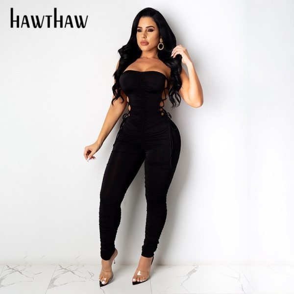 Hawthaw Women Autumn Summer Strapless Hollow Out Bodycon Soild Color Jumpsuit Romper Playsuit 2020 Fall Clothes Streetwear 5