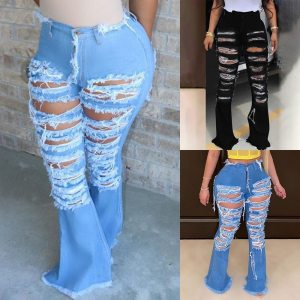 Sexy Ripped jeans Fringe Hollow out Ruffle Flare denim Pants High Waist Bodycon Hole Women Trousers Club Outfits 1