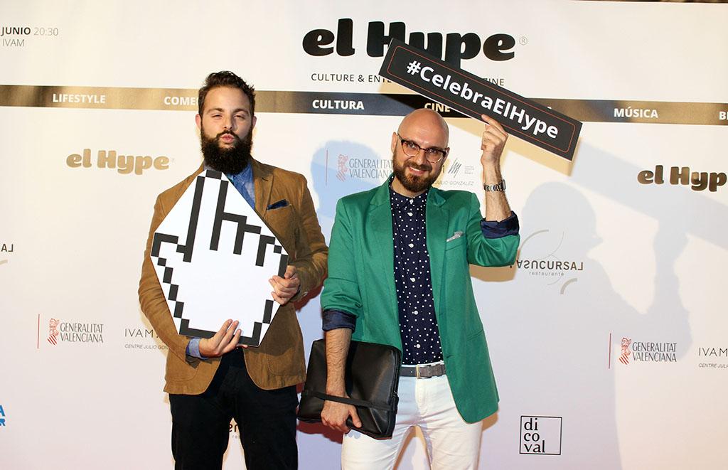 Aquí, Jesús Andrés y el menda en el photocall en la fiesta de El Hype