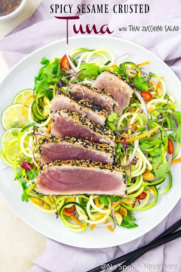 Easy Y Sesame Crusted Tuna With Thai Zucchini Salad