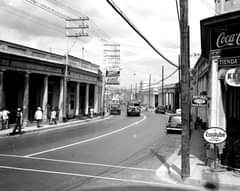 May be a black-and-white image of road and street