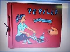 May be an illustration of text that says 'PEPILLA ALBUM T DE FOTOGRAFIAS FO GOMA'