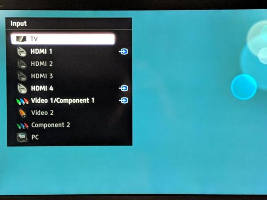 On-screen TV menu - TV Input