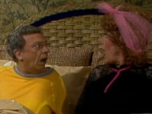Three's Company Episode: Night of the Ropers (Mr. Furley and Mrs. Roper in bed)