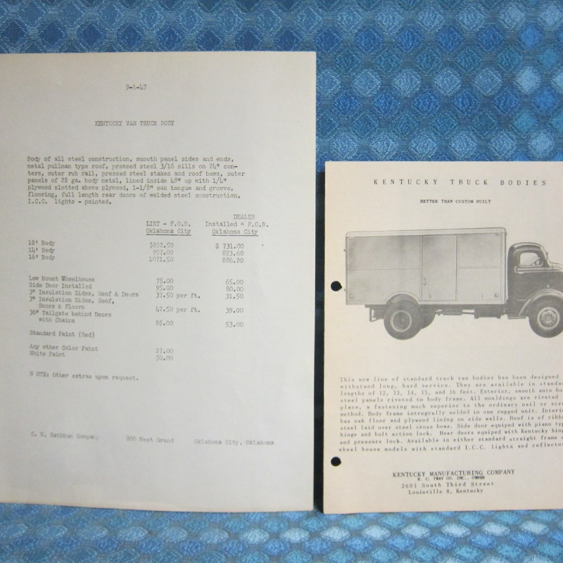 1946-47 Kentucky Truck Body Original Sales Brochure & Price List GMC Ford IHC