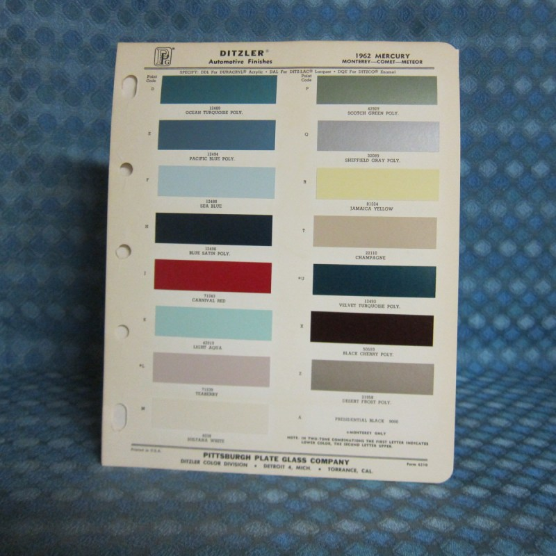 1962 Mercury Original Ditzler Paint Color Chip Chart
