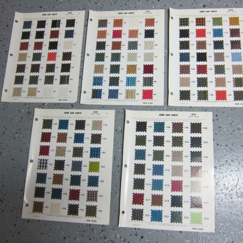 1972 Ford Car Original Upholstery - Soft Trim Identification Sample Pages