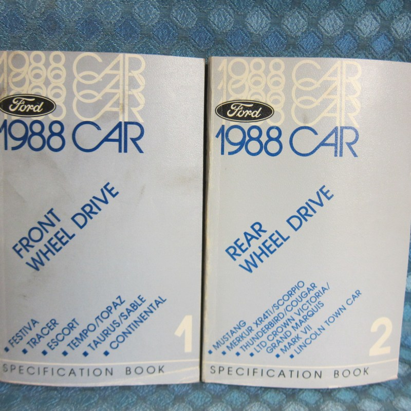 1988 Ford Lincoln Mercury Original Specification Book 2 Volume Set Continential