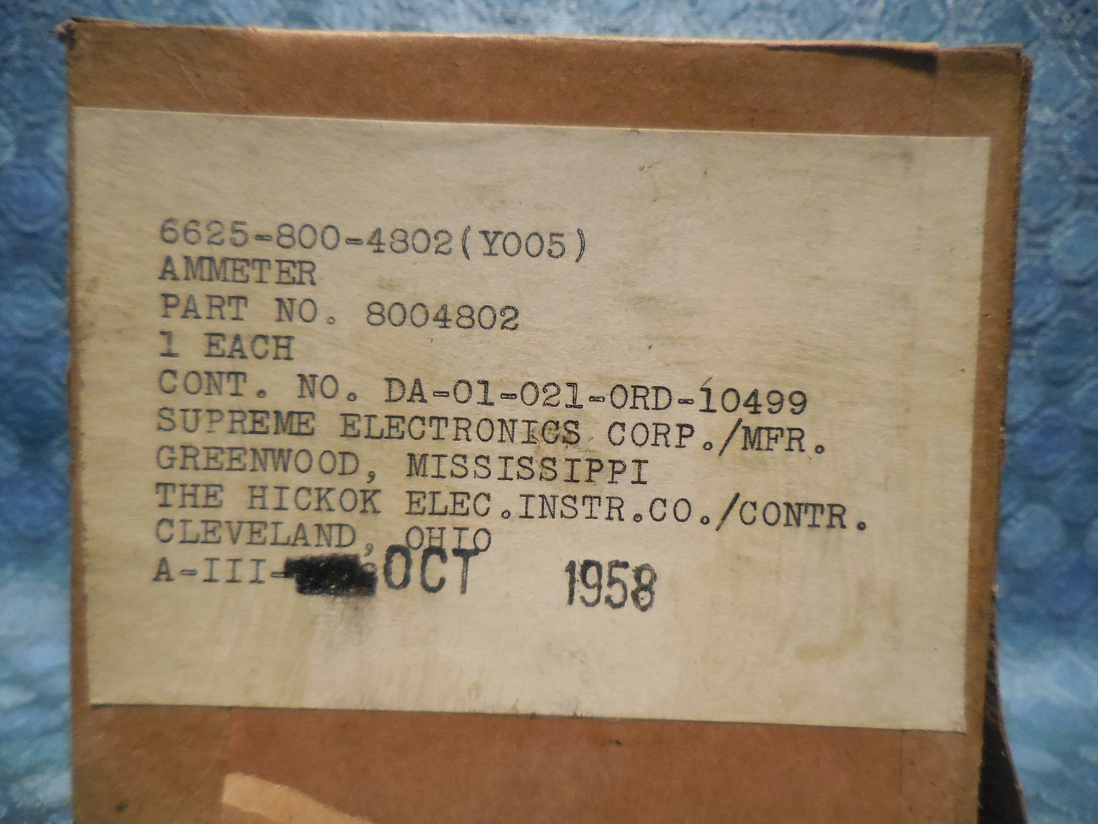 1958 Us Military Nos Hickok Dc Amperes Gauge Ammeter 8004802 Chevy Wiring Schematic