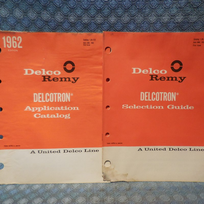 1960-62 Delcotron Alternator Selection & Application Guides 2 PCS GM Mopar Ford