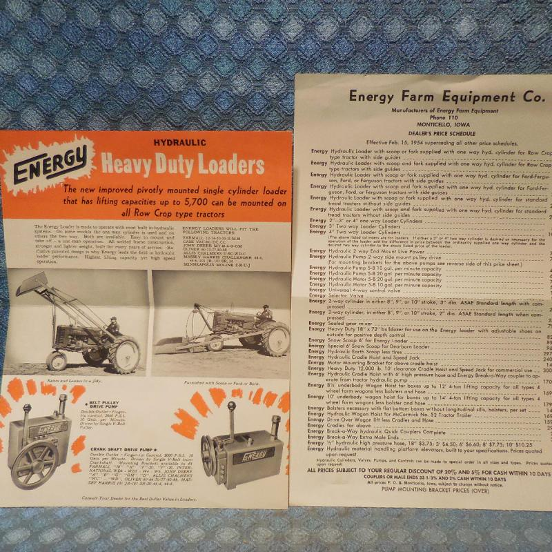 1954 Energy Hydraulic Loaders for Tractors Original Sales And Price Sheets