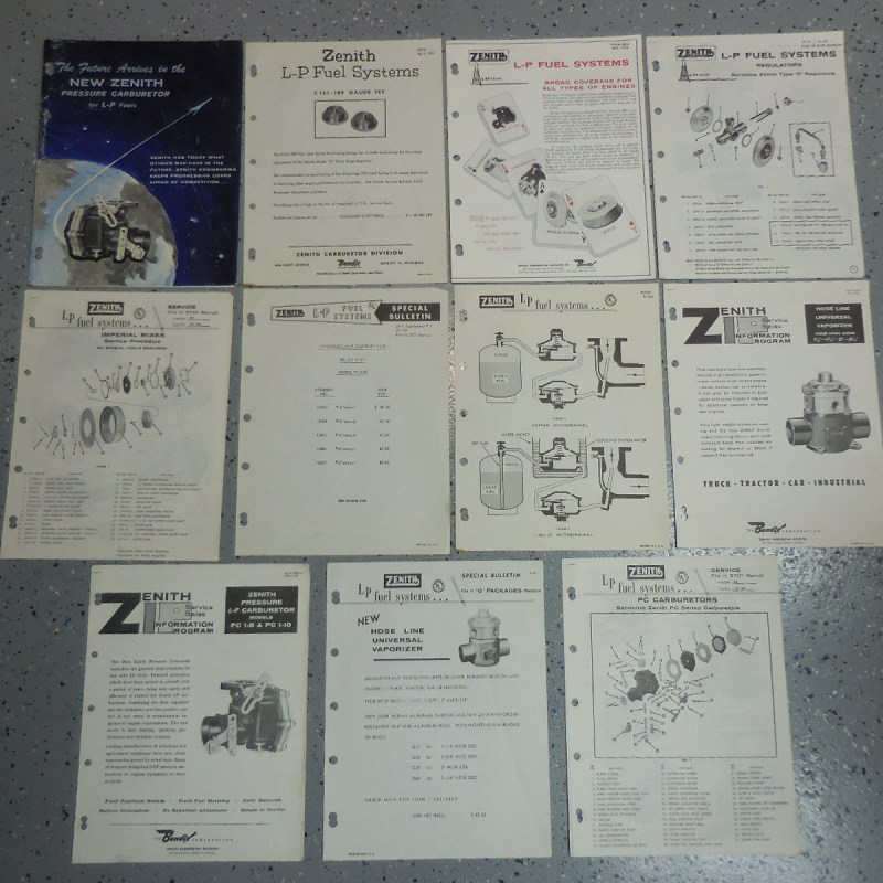 1957-1960 Zenith LP Carburetor Original Sales & Service Information 11 Piece Lot