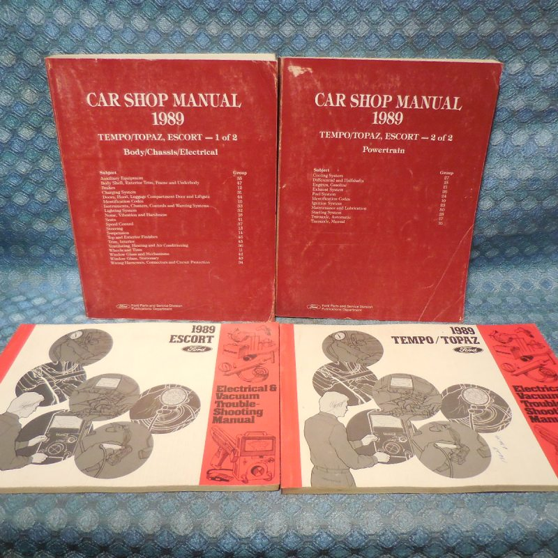 1989 Ford Escort, Topaz, Mercury Tempo Original Shop Manual 4 Volume Set