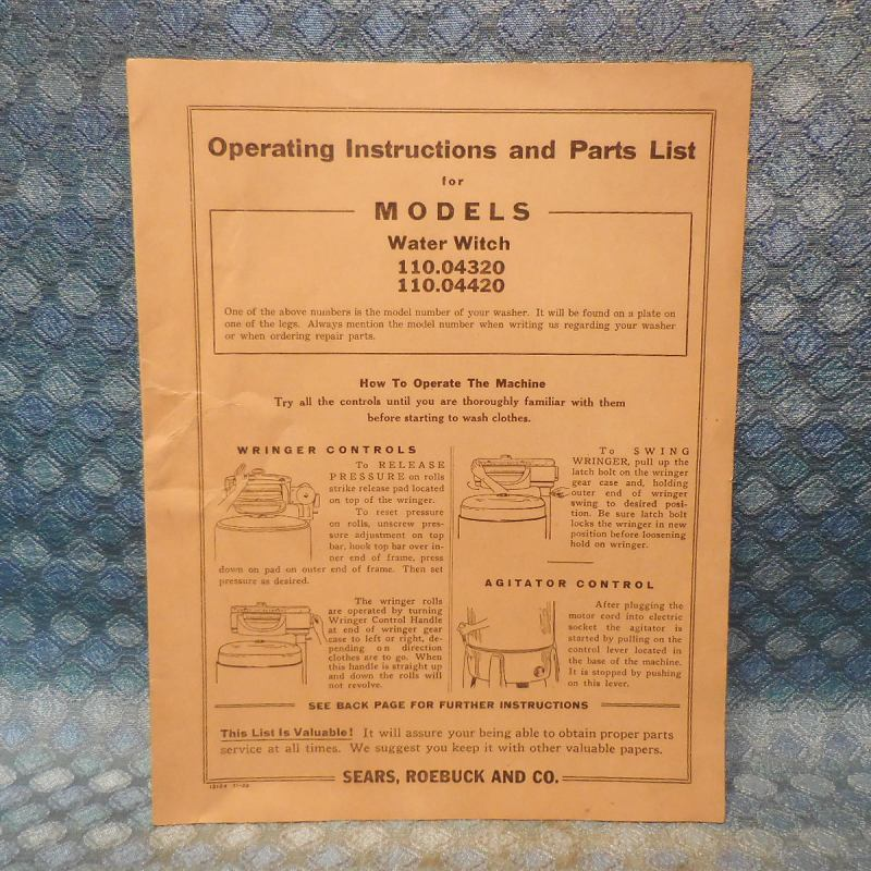1939-1940 Sears Water Witch Wringer Washer Original Instructions & Parts List