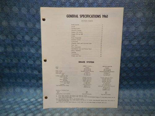 1961 Studebaker Passenger Original General Specifications - 16 Pages