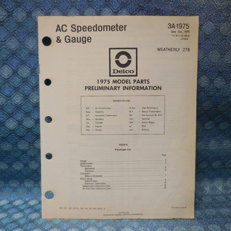 1975 AC Speedometer & Gauge Original Parts Catalog Cadillac Olds Pontiac Chevy