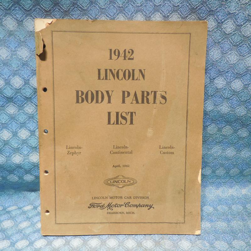1942 Lincoln Original Body Parts List / Catalog Continental Custom Zephyr